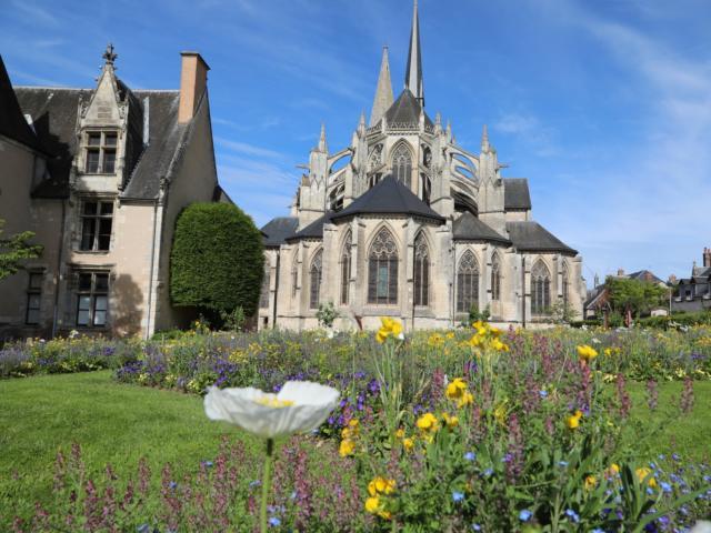 Chevet de l'Abbatiale de la Trinité à Vendôme avec au premier plan des fleurs
