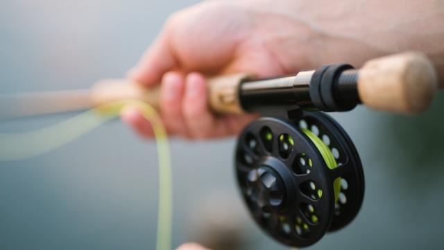 Zoom sur une main tenant une canne à pêche