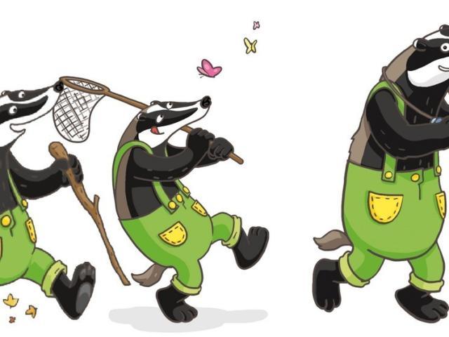 La mascotte de Randoland (un blaireau) représenté avec 3 visuels différents